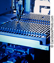 electronic part production - close up of a electronic part...