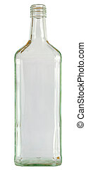 Close up of a empty vodka glass bottle isolated on white, 2 images stitched, Adobe RGB