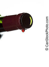 close up of a empty wine bottle