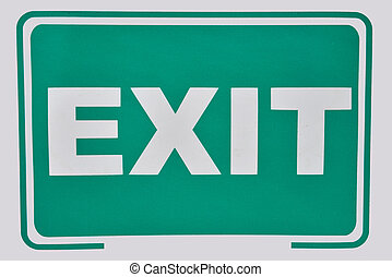 Close up of a exit sign for stairway. Green emergency exit sign. Label that will help you escape