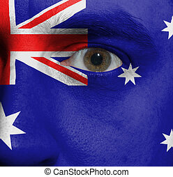 face with the Australian flag painted on it