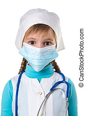 Close up of a female doctor or nurse isolated on white background, model is a Caucasian woman.