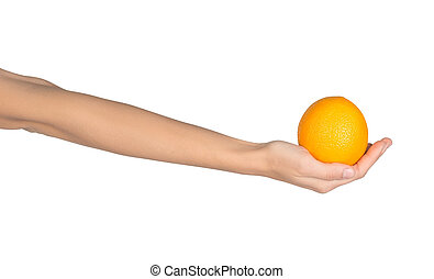 Close-up of a female hand holding an orange