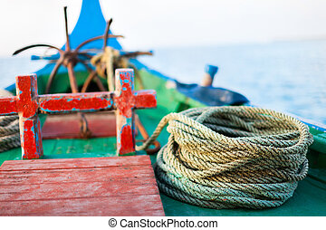 Close up of a fishing boat - Close up of a traditional ...