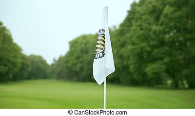close up of a flag at a golf course