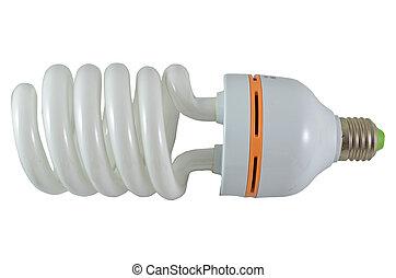 Close up of a fluorescent light bulb,