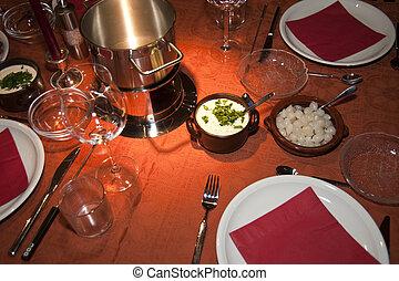 fondue - close up of a fondue dinner