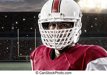 Football Player - Close up of a Football Player with a red...