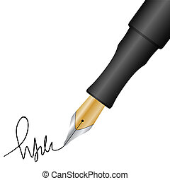 Close up of a fountain pen and signature. Vector illustration.