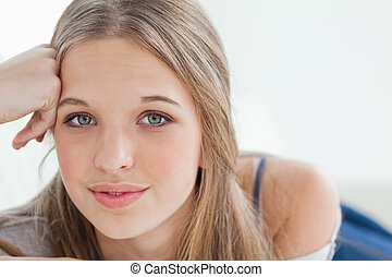 Close up of a girl looking at the camera