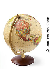 close up of a globe isolated on white background