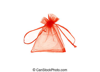 Close up of a gold gift bag isolated on white backgroun