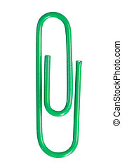 Close up of a green paper clip