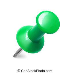 close up of a green pushpin