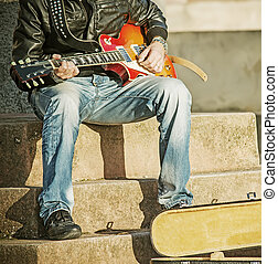 close up of a guitar player in vintage tone