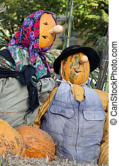Close-up of a Halloween doll of a head scarecrow