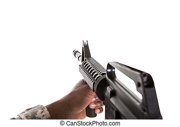 Close-up Of A Hand Holding Gun