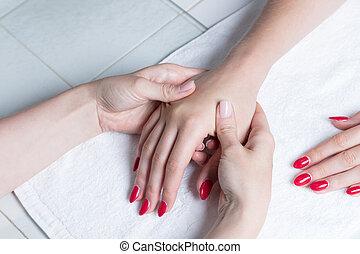 Close up of a hand massage
