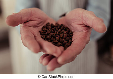 Close up of a handful of coffee beans.