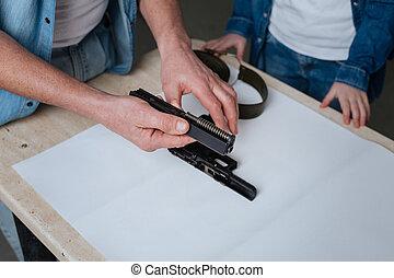 Close up of a handgun detail