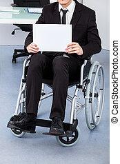 Handicapped Businessman Holding Paper