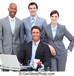 Close-up of a happy business team