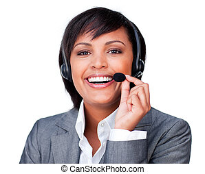 Close-up of a happy customer service agent with headset on