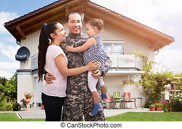 Happy Soldier Reunited With Family Outside Their Home