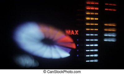 close-up of a hifi graphic equalizer shot with a tilt and...