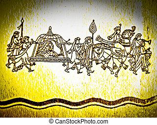 Close up of a Hindu Matrimony card