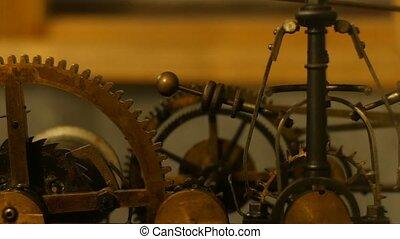 Close up of a internal clock mechanism.