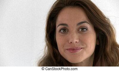 Close-up of a joyful hispanic woman