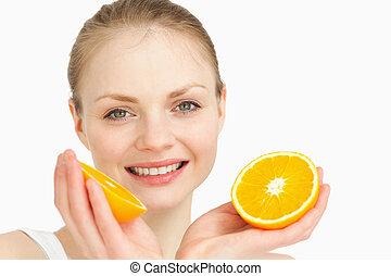 Close up of a joyful holding oranges