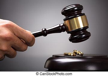 Judge Hitting Gavel On Golden Rings