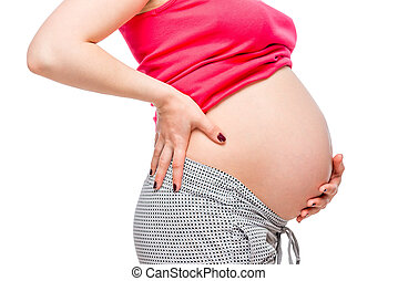 Close-up of a large belly of a pregnant woman, pain in the back, concept photo