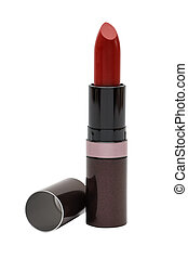 close up of a lipstick on white background
