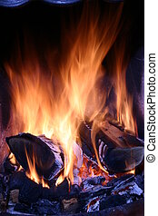 Close up of a log fire.