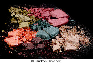 Close up of a make up powder on black