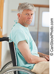 Close up of a man in a wheelchair