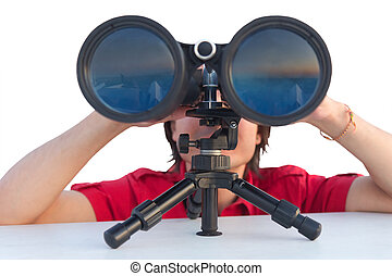 man with binoculars isolated on white - Close up of a man...