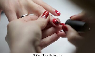 Close-up of a manicure in a beauty salon