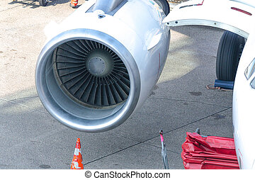 Close up of a modern airplane engine