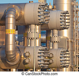 close up of a modern natural gas processing plant