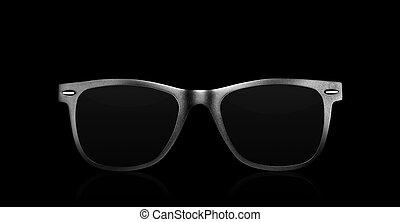 modern sunglasses on black background - close up of a modern...