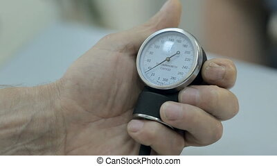 Close-up of a monitor of tonometer - Close-up of monitor of...