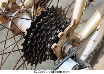 Close Up of A Mountain Bicycle Gears Mechanism