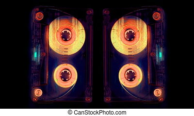close-up of a music cassette