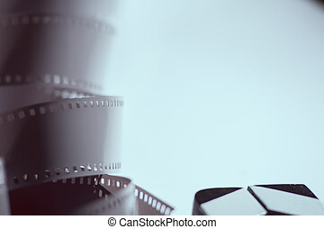 Close-up of a negative film. Copy space for ads Movie.