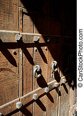 Close up of a old fortress door