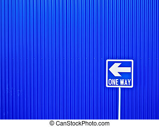 one way - close up of a one way street sign against blue ...